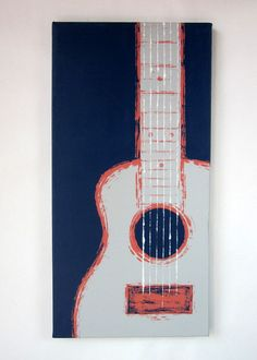 Guitar (navy, coral, grey) handpainted by Kate Zitzer :: more paintings available on Etsy #art