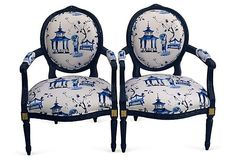 Blue French-Style   Armchairs, Pair