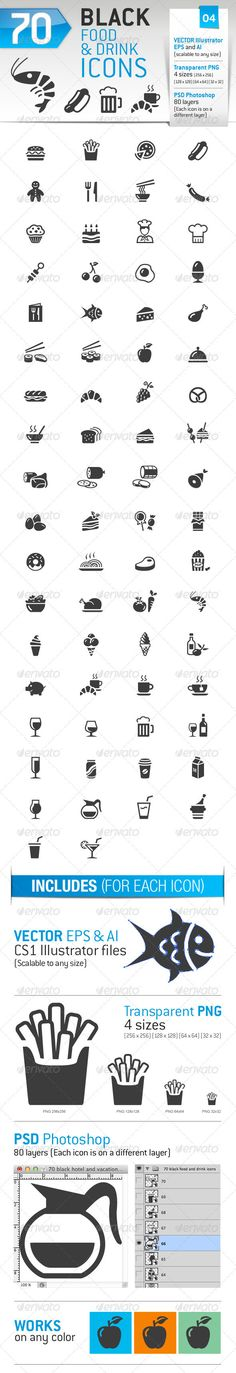 70 Food and Drink Icons — Photoshop PSD #burger #fruit • Available here → https://graphicriver.net/item/70-food-and-drink-icons/3543222?ref=pxcr