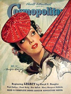 In a typical Cosmopolitan cover for this era, the May 1940 issue featured an elegant woman with matching beret and umbrella, illustrated by Bradshaw Crandell. Via magazineart.org