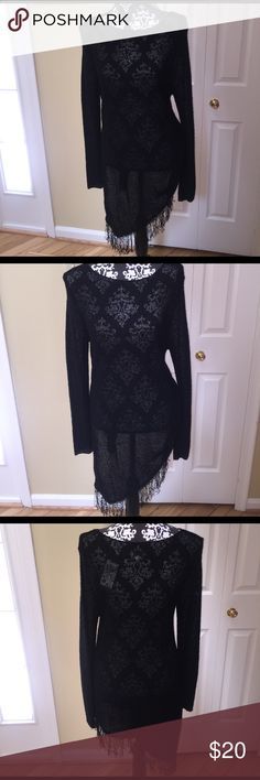 Black Fringe Tunic Classic and contemporary fringe tunic. NWT. Chico  size 2 which fits are 8/10. Perfect for any occasion. Tops Tunics