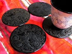 Burmese Handcrafted coasters(Set of 4 and 6) – handmade coasters in a matching gift box, with exquisite elephant design by hand, black&white