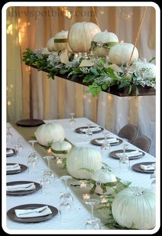 Thanksgiving Table Decor: white pumpkins, hanging shelf and greenery from the yard. - love the hanging shelf idea Hanging Centerpiece, Pumpkin Centerpieces, Thanksgiving Centerpieces, Diy Centerpieces, Thanksgiving Crafts, Friends Thanksgiving, Rustic Thanksgiving, Hanging Chandelier, Thanksgiving Celebration