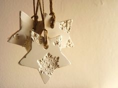 10 snowflake Christmas ornaments white and pearl by LaNiqueHOME, €35.00