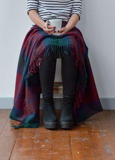 Recycled Wool Knee Blanket in Lindsay Tartan