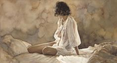 Steve Hanks - Looking Back (1949-2015) - great American figurative watercolor artist.