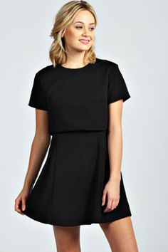 Holly Layer Detail Pleat Flared Dress at boohoo.com
