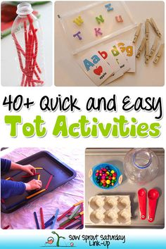 I'm always looking for quick and easy tot activities for my two-year-olds! The nice thing about simple activities is that they are easy to set up, clean up and toddlers love them. Here are 40+ Quick and Easy Tot Activities and the Sow Sprout Saturday Link-Up!
