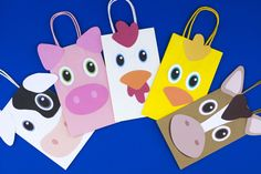 DIY Farm Animals Favor Bags. Simply Download, Print, Cut, and Paste. #kidsparty #birthdayideas #farm #firstbirthday Party Animals, Farm Animal Party, Farm Animal Crafts, Farm Party Favors, Barnyard Party, Party Favor Bags, Childs Farm, Construction Birthday Parties, Three Little Pigs