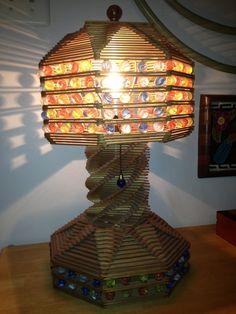 Vintage Popsicle Stick & Marble LAMP / Folk Art - Tramp Art - Jail Art - Therapy Art