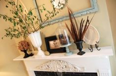 decorating mantle with nature 500x330 Decorating our Home with Nature