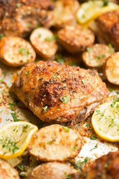 One Sheet Pan Roasted Za'atar Chicken and Potatoes.  Za'tar is a spice mix made up of thyme, marjoram, oregano, sumac, sesame seeds.  Sumac can be replaces by lemon juice or zest.