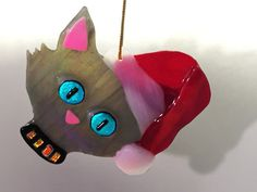 SUNCATCHER-ORNAMENT  Fused Glass Cat Head by OstisInspirations