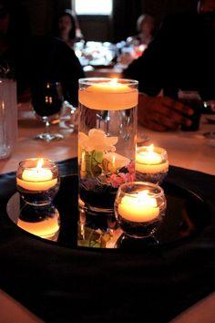 Floating Candle Centerpiece :  wedding centerpiece vase floating candle blue navy purple white ivory diy reception 142