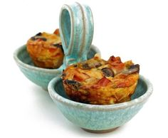 Mini Breakfast Stratas -  I can see making these on a Sunday morning and planning ahead and have extras for quick breakfast on the way out the door.  Plus a great way to use up little bits of veggies.