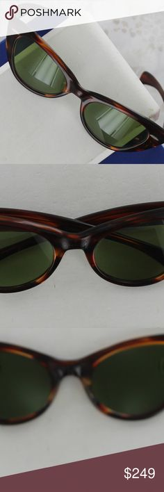 "Vintage 1950`s B&L Ray-Ban Cat Eye Sunglasses Vintage & RARE  Original 1950`s B&L Ray-Ban Cat Eye Sunglasses. They`re in amazingly good condition for their age. There are no breaks or major wear on the frames and the lenses have no scuffs, nicks or scratches. The side hinges measure 5"" apart and the temple arms measure 5 1/2"" in length. B&L Ray-Ban Accessories Glasses"