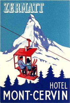 Vintage Zermatt Poster for Hotel Mont-Cervin. Ski Vintage, Party Vintage, Vintage Ski Posters, Vintage Hotels, Retro Poster, Poster S, Vintage Luggage, Poster Prints, Vintage Suitcases