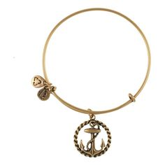 Nautical Charm Bangle ($28) ❤ liked on Polyvore featuring jewelry, bracelets, necklaces, accessories, nautical, rafaelian gold finish, nautical charm bracelet, peace charm, charm bangle and anchor charm bracelet