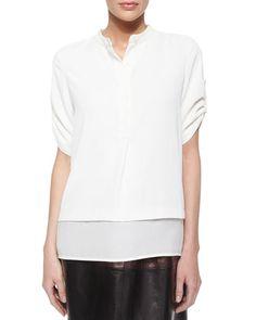 Silk Layered-Hem Top, Off-White at CUSP.