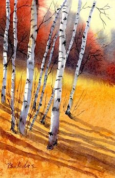 """Birch Slope"" by Sheila Psaledas"