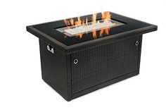 Patio Outland Fire Table, Aluminum Frame Propane Fire Pit Table w/Black Tempered Glass Tabletop Resin Wicker Panels & Arctic Ice Glass Rocks, Model 401 BTU Auto-ignition (Espresso Brown) Patio Furniture Fire Table Propane, Outdoor Propane Fire Pit, Outdoor Fire, Outdoor Heaters, Outdoor Living, Glass Rocks, Fire Glass, Fire Pit Furniture, Wicker Furniture