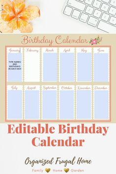 Perpetual Birthday Calendar, June And January, Calendar March, Calendar Organization, Family Birthdays, Dry Erase Markers, Ring Binder, Family Activities