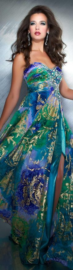 Mac Duggal Peacock Colored Gown..great for a Cruise or Tropical Resort