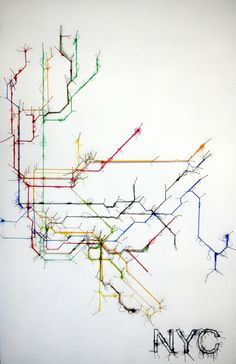Pin and Thread Illustrations Debbie Smyth 10 Art Textile, Textile Artists, Textiles, Web Design, Graphic Design, Nyc Subway Map, Art Fil, Metro Map, Observational Drawing