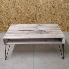 mesa ratona rustica con patas de hierro redondo pallet