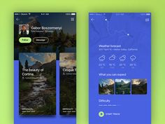 Trekking app designed by Gabor Boszormenyi. Connect with them on Dribbble; the global community for designers and creative professionals. Web Design Mobile, App Ui Design, User Interface Design, Flat Design, Design Design, Website Design Inspiration, Ui Inspiration, Design Thinking, Trekking