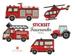 Stickmuster - Stickdateienset Feuerwehr 10x10cm - ein Designerstück von Schnookywoo bei DaWanda