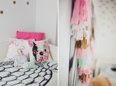 // My Gilbert the Frenchie and Flock of Flamingos pillows in That Big Girl Room blog post from BonjourBlissBlog