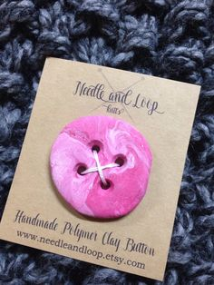 Extra large hand crafted polymer clay button, knit, crochet, sew, accessory, embellishment, light pink,dark pink,marble, 2.25 inch diameter by NeedleandLoop on Etsy https://www.etsy.com/ca/listing/510825669/extra-large-hand-crafted-polymer-clay