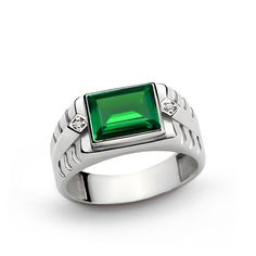 925 K Sterling Silver Men's Ring with Natural 3.25 ct Emerald and 0.02 ct Diamonds
