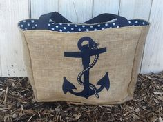 Great for my work docs. Eco-Friendly Nautical Anchor Market Tote Bag, Handmade from a Recycled Coffee Sack
