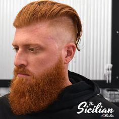 Long blunt-cut top, with a very angular, short gradient, created using a 3/0. Beard shaped to extenuate length using shears and clippers. Razor used for all line-up work.  #barberlife #barbersbarber #barbershop #barbershopconnect #haircut #hair #fade #barbersinctv #barbergang #beard #barberlove #nastybarbers #hairstyle #barbers #wahl #style #barbering #andis #thebarberpost #fashion #menshair #barbersince98 #nike #beardgang #nbahaircuts #barberhub #hairstylist  #barberworld #goducks…