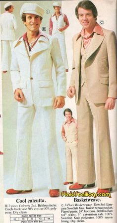 70's Fashion for Men - Complete with mini-me's! - Plaid Stallions. The guy in white.