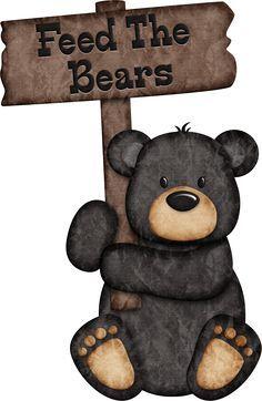 Feed The Bears - Black Bear ༺♛ Christine Staniforth ♛༻ Bear Crafts, Wood Crafts, Dont Feed The Bears, Black Bear Decor, Bear Clipart, Bear Signs, Bear Paintings, Friend Book, Camping Theme
