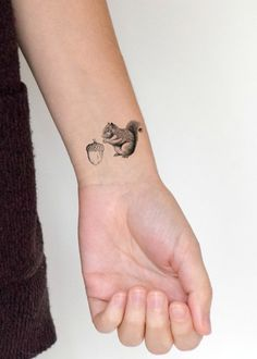 Tiny Temporary Tattoo set of 2 - Squirrel and nut, acorn, black and white, black…