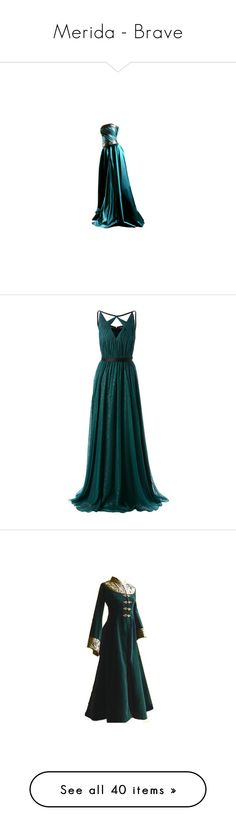 """Merida - Brave"" by beyond-infinity444 ❤ liked on Polyvore featuring dresses, gowns, long dresses, vestidos, long black dress, long black evening dress, black evening gowns, black gown, kohl dresses and long v neck dress"
