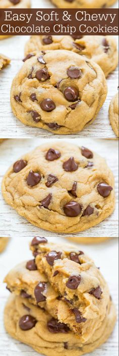 Easy Soft and Chewy Chocolate Chip Cookies - Averie Cooks - Big bakery-style cookies made in ONE bowl and NO mixer required! Soft and buttery, perfectly chewy, and loaded with CHOCOLATE! It's hard to eat just one! Easy Chocolate Chip Cookies, Chocolate Recipes, Chocolate Chips, Cookies Soft, White Chocolate, Christmas Cookies, Cookie Recipes, Dessert Recipes, Dinner Recipes