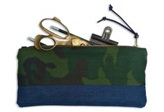 camouflage & denim: pencil & supply pouch