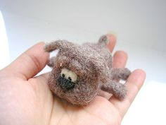 OOAk Hand crafted needle felted cute brown dog miniature doll from lamb wool  Toy created from 100%lamb wool(Latvia). Dog size 8cm(long) x 3,5cm(height) x7cm(width)