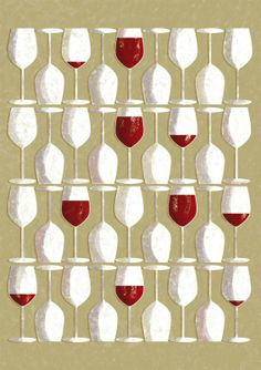 Red wine glasses art poster by Tomso.  #WineArt