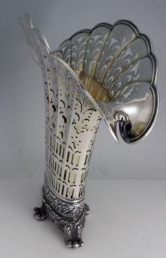 Tiffany Antique Sterling Silver Fan Shaped Pierced Vase 1902-1908