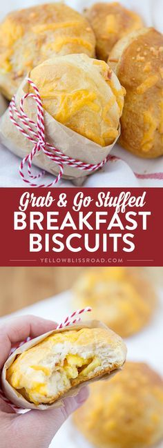 Super Easy Grab & Go Stuffed Breakfast Biscuits - Easy biscuits stuffed with…