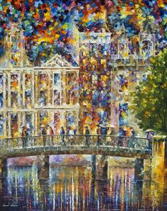 ON THE BRIDGE IN AMSTERDAM - Original Oil Painting On Canvas By Leonid Afremov http://afremov.com/BEAUTIFUL-NIGHT-Original-Oil-Painting-On-Canvas-By-Leonid-Afremov-43-X57.html?bid=1&partner=20921&utm_medium=/vpin&utm_campaign=v-ADD-YOUR&utm_source=s-vpin