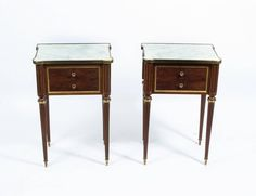 Antique Pair French Empire Style Bedside Cabinets, circa 1900   From a unique…