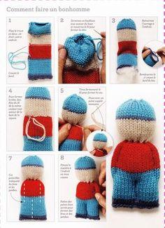 """Coucou Simples à réaliser au tricot ces bonhommes sont très sympathiques. On peut aussi multiplier la taille et ainsi avoir un grand """"bonhomme"""" qui pourra faire office de doudou par exemple. A très vite !"""