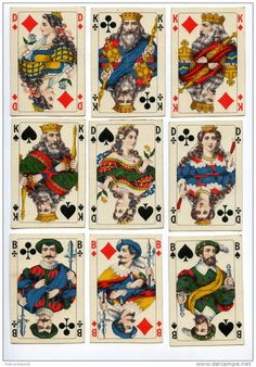 145093 Vintage German 36 PLAYING CARDS, court/face card selection, late 19th century.
